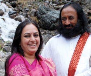With her brother Gurudev Sri Sri Ravi Shankar